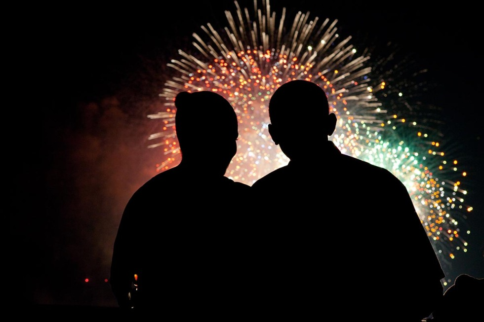 President Barack Obama and First Lady Michelle Obama watch the fireworks over the National Mall from White House on July 4, 2009. (Official White House photo by Pete Souza)